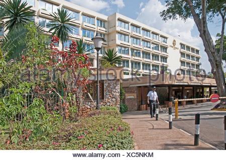 Askari Security Guard at entrance to Nairobi Serena Hotel Nairobi Kenya Africa NAIROBI SERENA HOTEL ASKARI SECURITY GUARD - Stock Photo