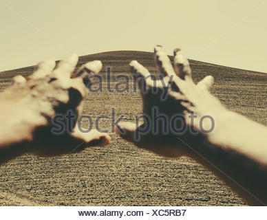 Hands extending reaching out towards ploughed farmland, near Pullman, Washington, USA - Stock Photo
