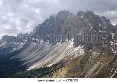 Geisler Spitzen, Geisler mountain, view from Zanser Alm, Dolomite Alps, Dolomites, South Tyrol, Italy - Stock Photo
