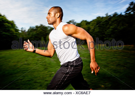 Man jogging in woods - Stock Photo