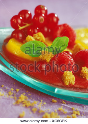 Fruit and tomato gaspacho with gingerbread - Stock Photo