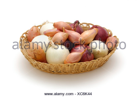 Different kinds of onions in a plaited basket - Stock Photo
