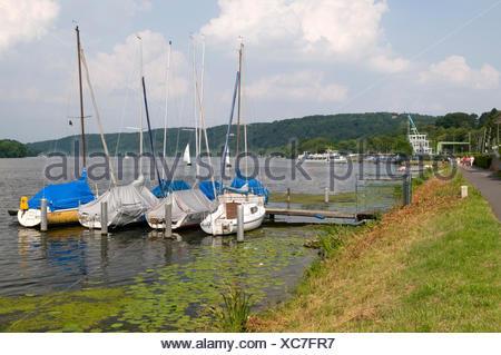 Boats on the Baldeneysee lake in Essen-Werden, Ruhrgebiet area, North Rhine-Westphalia - Stock Photo