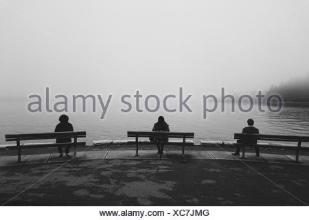 Three People Sitting On Benches At Lakeshore - Stock Photo