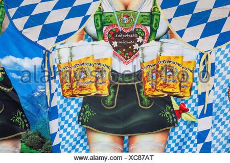 Souvenir apron depicting beer steins at Oktoberfest festival, Munich, Bavaria, Germany - Stock Photo
