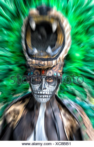 Photograph of Maya folklore fire dance ritual performer in Xcaret Show, Riviera Maya, Quintana Roo, Mexico - Stock Photo