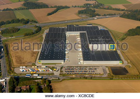 Aerial photograph, EDEKA, EDEKA-Logistik, wholesaler, foodstuffs concern, warehouse, motorway A2, B63, Rhynern, Hamm, Ruhr Area - Stock Photo