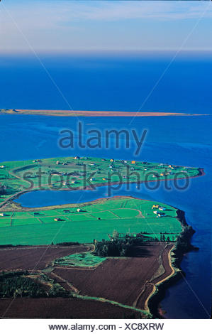 Aerial of Hebrides, New London Bay,  Prince Edward Island, Canada - Stock Photo