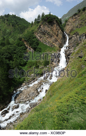 Switzerland, Ticino, Ritom, Piora, waterfall, rock, cliff, - Stock Photo