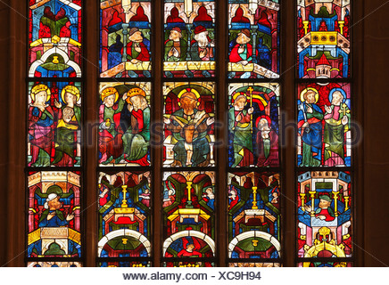 Stained glass window, Leonhardikirche, St. Leonhard's Church, Bad St. Leonhard in Lavanttal Valley, Carinthia, Austria, Europe - Stock Photo