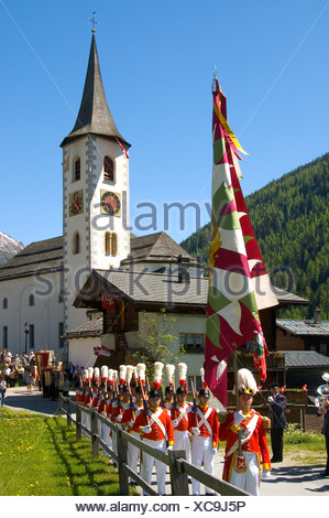 Corpus Christi procession Kippel Lötschental Valais Switzerland - Stock Photo