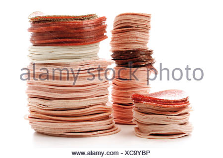 Sausage varieties, cold cuts - Stock Photo