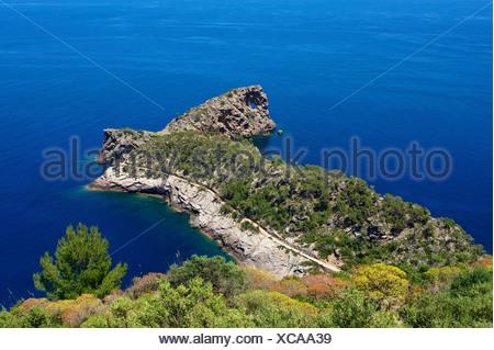 Balearic Islands, Majorca, Mallorca, Spain, Europe, outside, Punta de sa Foradada, coast, seashore, coasts, seashores, coastal s - Stock Photo
