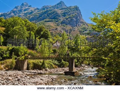 Cares River, Cain, Valle de Valdeón, Valdeón Valley, Picos de Europa National Park, province of León, Castile and León, Spain - Stock Photo