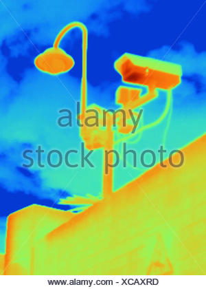 Thermal image of security camera at West London power station - Stock Photo