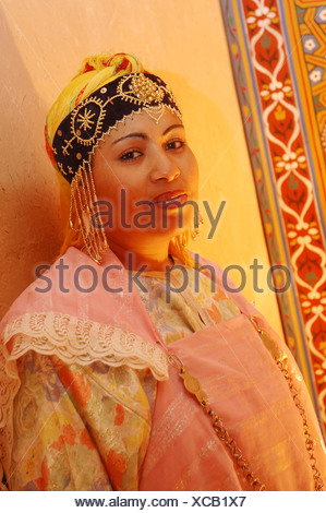 Berber woman in a traditional costume , Ouarzazate , Morocco , Africa - Stock Photo