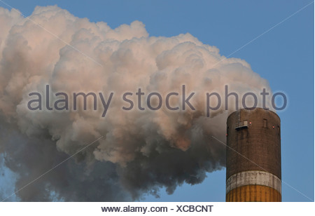 Smoking chimney, Schkopau lignite-fired power plant, Schkopau, Saxony-Anhalt, Germany - Stock Photo