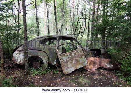 car wreck - scap motorcar vehicle - junkyard - Stock Photo