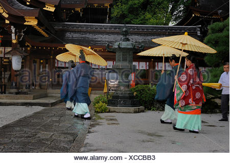 Traditional oil-paper umbrellas used during the rain in Imamiya Shrine, Jidai-Matsuri Autumn Festival, Kyoto, Japan, Asia - Stock Photo