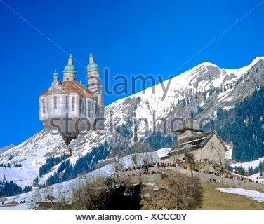 Switzerland, Europe, Vaud, Chateau d'Oex, balloon, church - Stock Photo