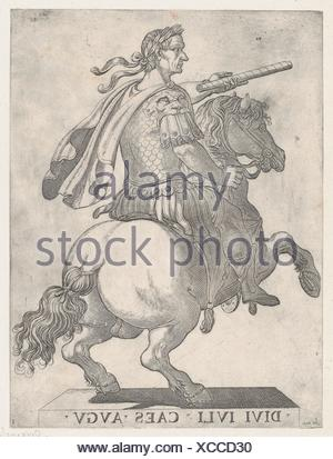 Plate 1: Emperor Julius Caesar on Horseback, from ´The First Twelve Roman Caesars´. Artist: Antonio Tempesta (Italian, Florence 1555-1630 Rome); Stock Photo