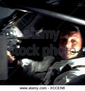 A Confident Neil Armstrong Aboard Apollo 11 - Stock Photo