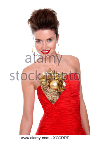 Young woman in red dress - Stock Photo