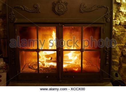 Wood burning fireplace home. Gipuzkoa. Basque Country. Spain - Stock Photo