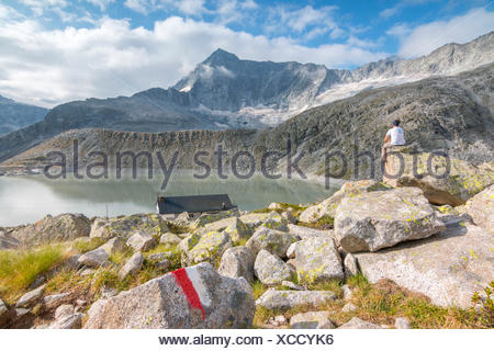 Hicker admire the Adamello Mount and Garibaldi refuge. Temù, Val d'Avio (Adamello Park), Brescia province, Lombardy, Italy, Europe - Stock Photo