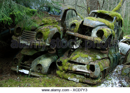 Scandinavia, Sweden, Varmland, View of abandoned car - Stock Photo