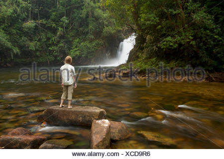A girl watches Riam Berasap, the Falls of the Mists, which is the largest waterfall in Gunung Palung National Park. - Stock Photo