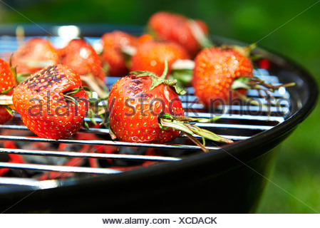 Grilled strawberries spicked with rosmary - Stock Photo