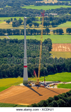 Construction of wind turbine, Lavesum, Sythen, Ruhr, North Rhine-Westphalia, Germany - Stock Photo