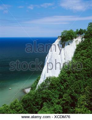 Koenigsstuhl, the famous chalk cliff, Jasmund National Park, Ruegen Island, Germany, Europe - Stock Photo