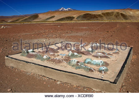 Three dimensional model of the environment, Uturuncu volcano, 6008m, at back, Atacama Desert, Altiplano, southern Bolivia - Stock Photo