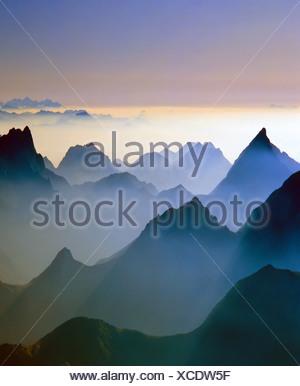 View from the Birkkarspitze, backlight, Karwendel, Tyrol, Austria Gschnitztal, Stubai Alps, (M) - Stock Photo