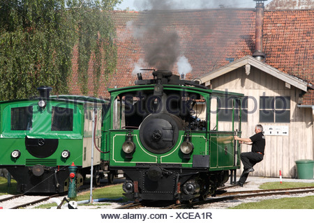 Steam engine of the Chiemsee Railway in Prien, Chiemgau, Upper Bavaria, Germany, Europe - Stock Photo