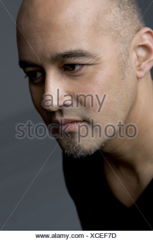 Adult man thinking, portrait - Stock Photo