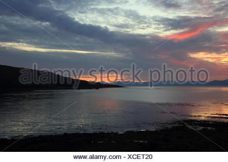 sunrise on Isle of Rum, United Kingdom, Scotland, Isle of Rum - Stock Photo