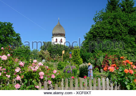 Nun working in an abbey garden, Frauenwoerth church, Frauenchiemsee island, lake Chiemsee, Chiemgau, Upper Bavaria, Bavaria, Ger - Stock Photo