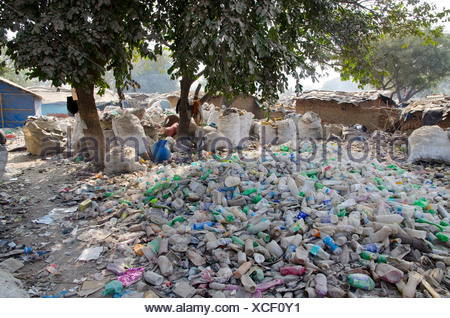 Garbage piled up in the streets of Allahabad, Uttar Pradesh, India, Asia - Stock Photo
