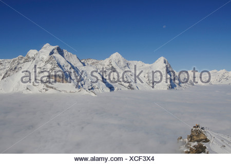 Panoramic view from Mt Schilthorn, Piz Gloria over the Birg summit station on the Eiger with north face, Lauterbrunnen, Bernese - Stock Photo