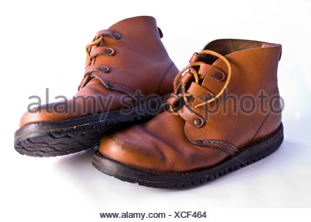 brown brownish brunette leather convenient shoe old brown brownish brunette - Stock Photo