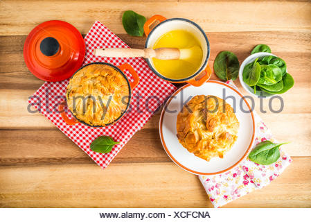 Spanakopita - Greek spinach pie with feta and ricotta - Stock Photo