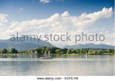 Chiemsee Lake near Uebersee, Chiemgau region, Bavaria - Stock Photo