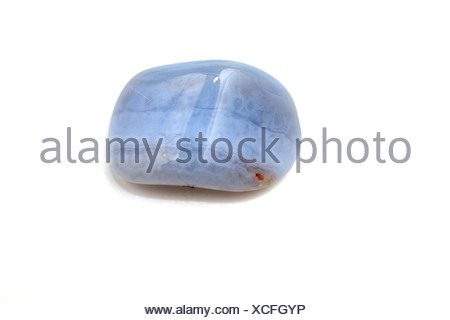 Cutout of a Blue Lace Agate gemstone on white background - Stock Photo