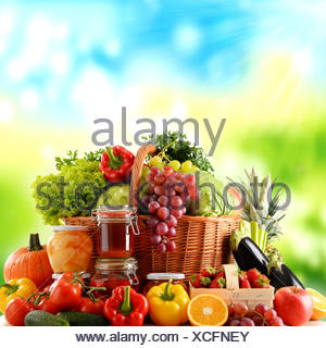 Composition with organic food isolated on white - Stock Photo