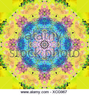 a symmetric montage from flower photographs, conceptual layer work - Stock Photo