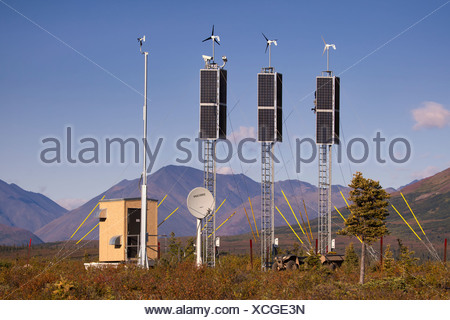 View of a solar and wind generation camera site near Rainy Pass and Puntilla Lake,Southcentral Alaska, Fall - Stock Photo