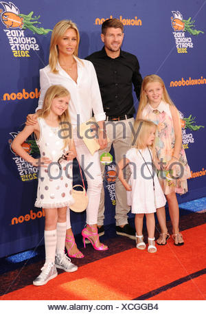 Soccer player Steven Gerrard, wife Alex Gerrard and daughters Lilly-Ella Gerrard, Lexie Gerrard, Lourdes Gerrard arrive at the Nickelodeon Kids' Choice Sports Awards 2015 at UCLA's Pauley Pavilion on July 16, 2015 in Westwood, California., Additional-Rights-Clearances-NA - Stock Photo